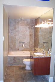 interior creative light cream marble tile wall in small bathroom