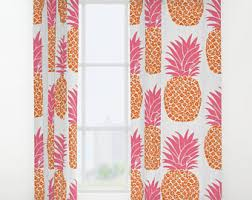Pink And Orange Curtains Pineapple Drapes Etsy