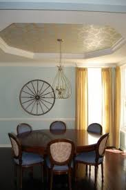 wallpaper in a tray ceiling or stencil with clear gloss for