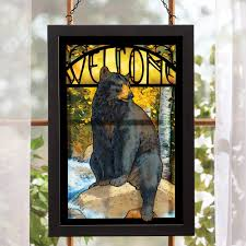 black bear stained glass wall art
