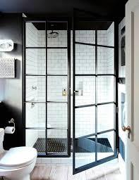 E Shower Door Inside A Manhattan Apartment With Rustic Charm Glass Bathroom