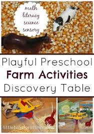 preschool farm activities for math science literacy and sensory play
