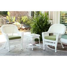 Wicker Patio Furniture Cushions - wicker chair and end table set with green chair cushion