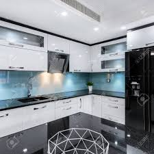 white contemporary kitchen cabinets gloss modern black and white high gloss kitchen with table and countertop