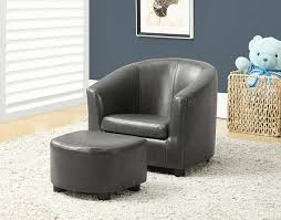 barrel chair with ottoman ottomans tufted accent chair genuine leather club chair brown