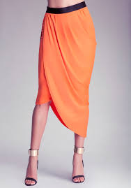 Draped Skirts Bebe Side Draped Skirt In Orange Lyst