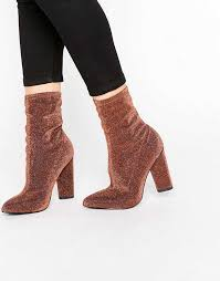 womens boots missguided missguided glitter heeled sock boots gold womens missguided