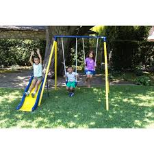 Kids Backyard Fun Swing Set Playground Metal Swingset Outdoor Play Slide Kids