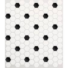 shop american olean 10 pack satinglo hex ice white with black dot