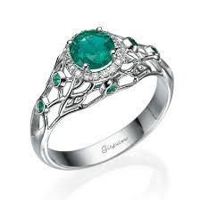 emerald engagement ring 14k white gold filigree design emerald