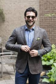 how to wear blue dress pants with a white gingham dress shirt