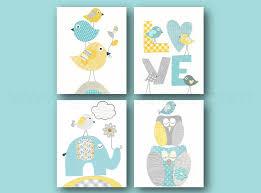 tableau déco chambre bébé lot de 4 illustrations 18x24 cm pour chambre d enfant et bebe aqua