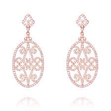 Rose Gold Chandelier Earrings Ingenious Rose Gold Chandelier Drop Earrings With Scroll
