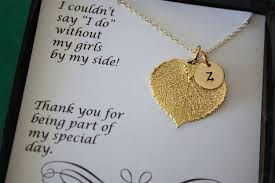 Personalized Charm Necklaces 6 Monogram Bridesmaid Gift Real Leaf Necklaces Thank You Card