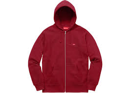 supreme small box logo zip up hooded sweatshirt cardinal