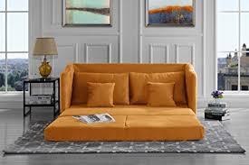 Yellow Sleeper Sofa Modern Soft Brush Microfiber Modular Convertible
