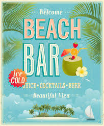 vintage cocktail posters vintage beach bar poster vector background royalty free cliparts