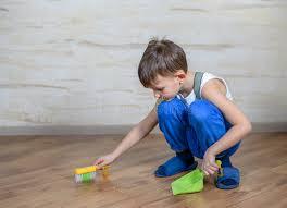 Hardwood Floor Broom Child Using Toy Broom And Dustpan Stock Photo Image 69143572