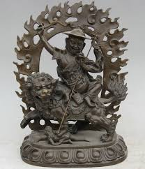 lion dog statue 13 tiebt tibetan buddhism bronze protector deity buddha ride lion