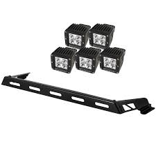 Black Led Light Bar by Rugged Ridge 11232 05 Hood Light Bar Kit 5 Cube Led Lights