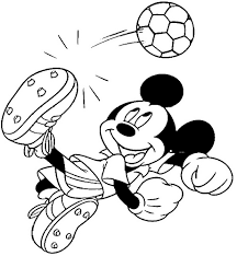 mickey playing soccer coloring coloring pages