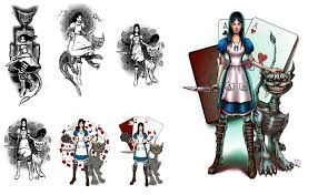 sketch for tattoo on the game alice madness return by valerakolba