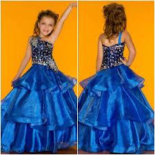 blue one shoulder crystal baby birthday wedding party formal
