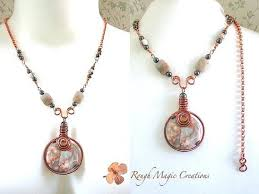 long boho necklace images Large stone pendant long boho necklace beaded copper adjustable jpg