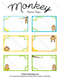 printable name tags free printable monkey name tags the template can also be used for