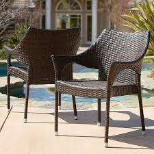 Patio Furniture Without Cushions Mar Outdoor Brown Wicker Stacking Chairs Set Of 2