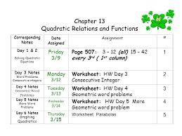 quadratic relations and functions ppt video online download