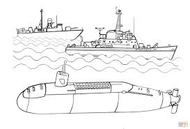 submarine and warships coloring page free printable coloring pages