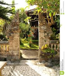 traditional split gate in balinese garden stock images image