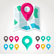 map markers and flat map icon stock vector image 31844495