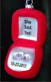 she said yes ring box glass ornament