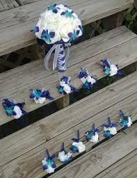 blue orchid corsage nautical preppy blue ivory white bouquet boutonniere