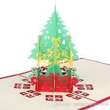 christmas pop up cards tree merry christmas card new year greeting