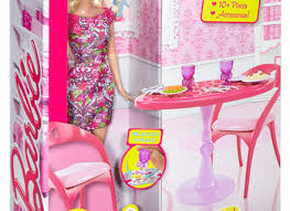 barbie dining room doll house dining room furniture table chair dinnerware play set
