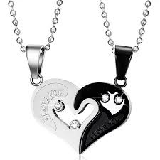 black heart necklace images Mens stainless steel chain black heart love necklaces for couples jpg