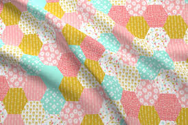 hexagon quilt cheater quilt wholecloth retro flowers
