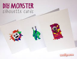 mollymoocrafts diy monster cards with free stencils