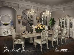 6 830 00 monte carlo ii 9 pc dining set silver pearl by michael monte carlo ii 9 pc dining set silver pearl by michael amini