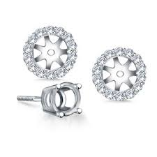earring jacket halo diamond stud earring jacket in 18k white gold b2c