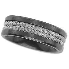 black titanium wedding bands for men black titanium wedding band with cable inlay