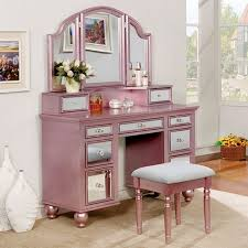 Vanity Table With Tri Fold Mirror 3 Pc Tracy Collection Rose Gold Finish Wood Make Up Bedroom Vanity