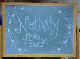 look to him and be radiant nativity photo booth