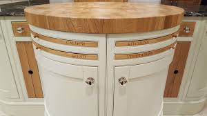 ideas caldew kitchens solid oak butchers block top with curved painted maple doors tea trays and spice drawers all in oak this display is in our showroom for you to see