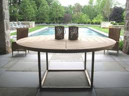 Circular Patio Seating Abbott Concrete Top Round Fixed Dining Table Potterybarn I Am