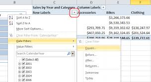 how to sort a pivot table filter dates in a pivottable or pivotchart excel