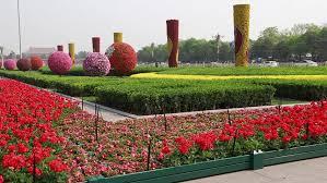 beautiful flower gardens in tiananmen square beijing china where